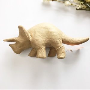 Paper Mache Triceratops Paintable Natural Color